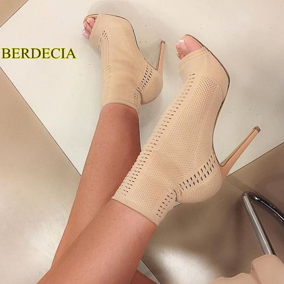 Elegant woman mid-calf boots breathable hollow out Stiletto young lady shoes popular mesh beige stiletto heels double buckle cross straps mid calf boots