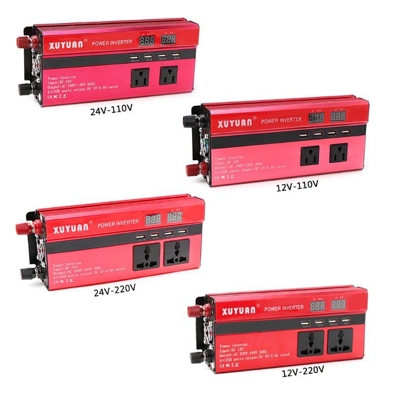 New 1 Set 4000W Solar Auto Car Power Inverter LED DC 12/24V to AC110/220V Sine Wave Converter 4 USB Interfaces Car Inverter
