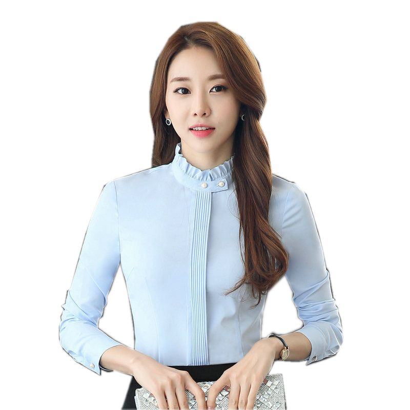 New fashion women clothing long sleeve blouses formal slim stand collar chiffon shirt office ladies plus size 3XL tops 2017