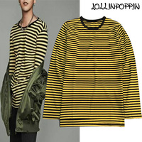 KPOP GD Same Style Black and Yellow Striped Long Sleeve T Shirt 100% Cotton O Neck Stripe T Shirts Side Slit Free Shipping