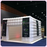 Free shipping 3.6mx3.6m RGB led inflatable cube tent giant marquee white kiosk with doors for events China supplier