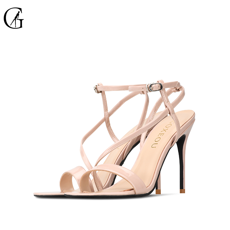 GOXEOU 2019 New Women Sandals Round Toe size 32 46Thin Heel High Heels Sexy Lace up
