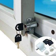 5 pieces/lot free shipping sliding window lock with key child safety protection anti-theft door push