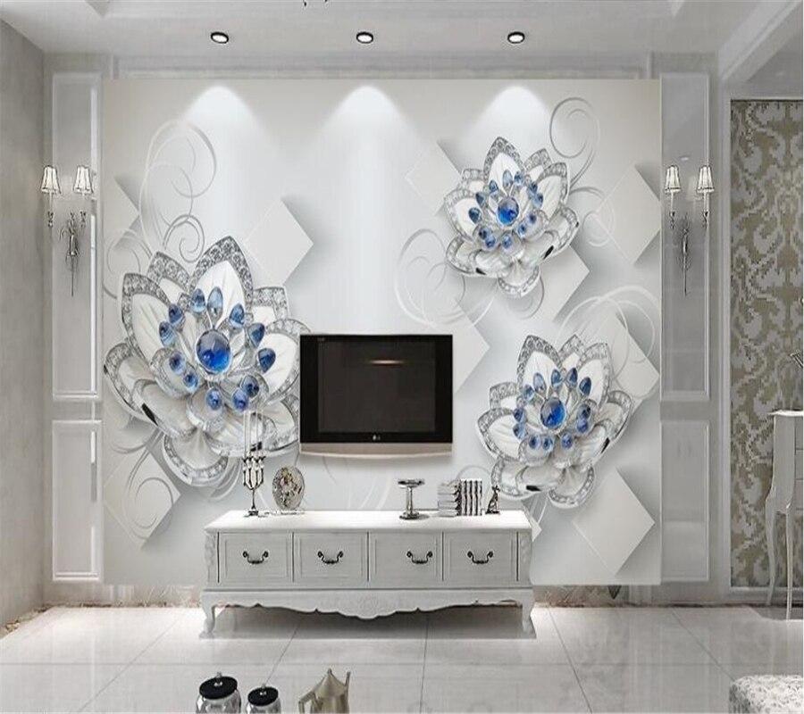 Beibehang Kustom 3D Wallpaper Mural Estetika Biru Perhiasan Bunga Kertas Dinding Sofa Ruang Tamu TV Latar