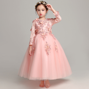Glizt Appliques lace Flower Girl Dress Party Pageant Princess Wedding Dress Girl First Communion Dresses Baby Girl Baptism Gown