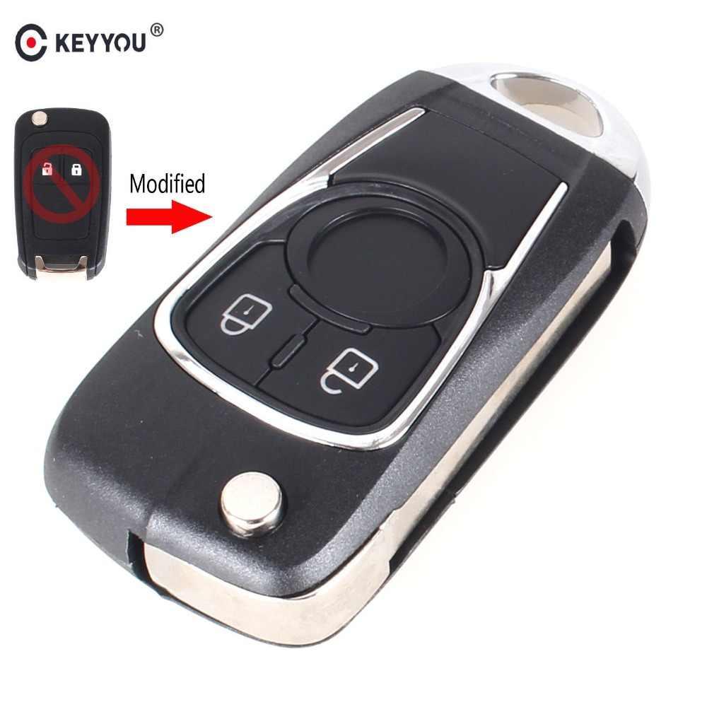 KEYYOU 10 יח'\חבילה 2 כפתורים השתנה Flip מרחוק מפתח מעטפת עבור שברולט וולט Cruze ספארק סוניק מליבו אקווינוקס Fob רכב מפתח מקרה