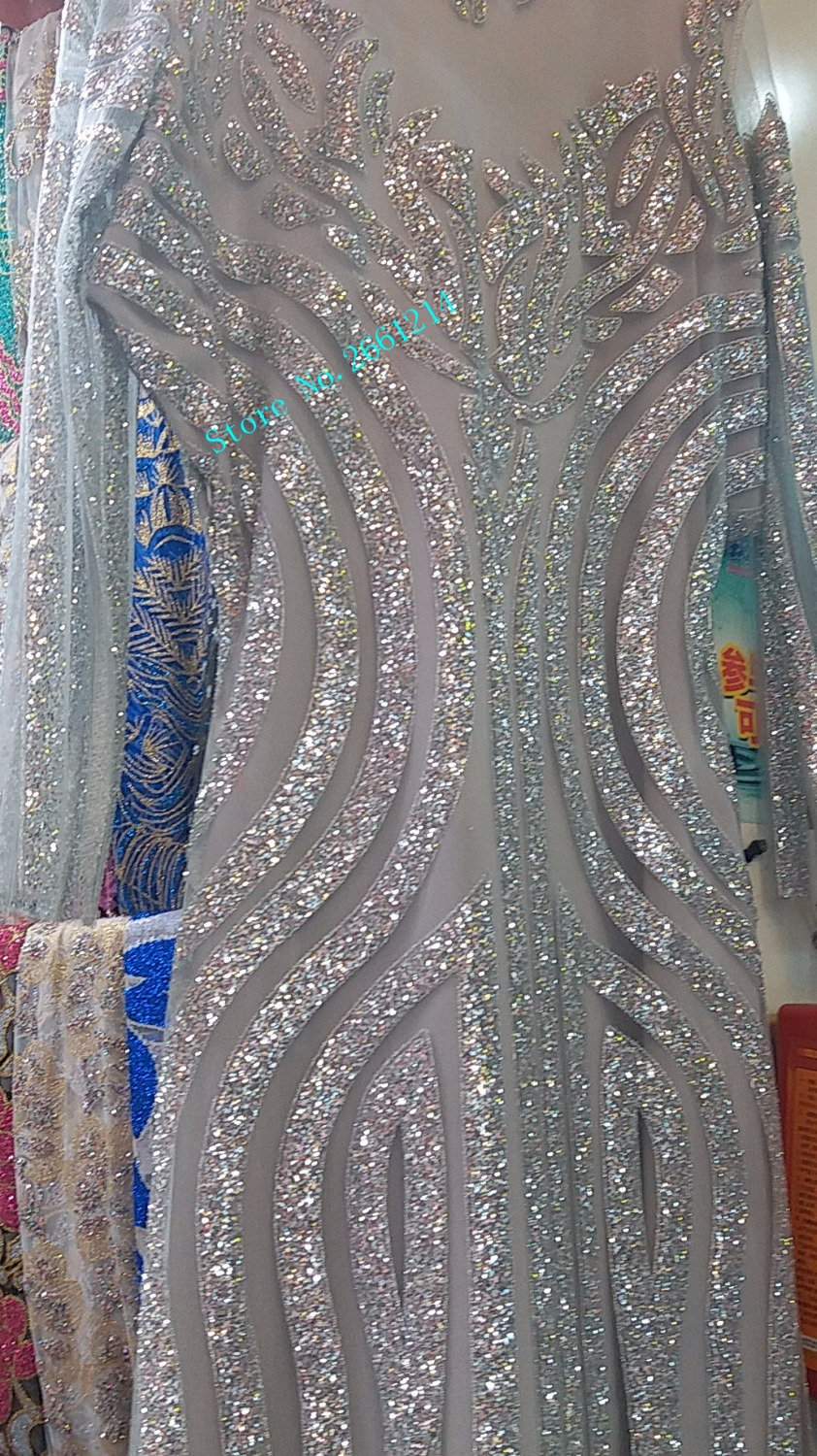 New Fashion Bzl 52426 French Net Lace Fabric Silver