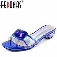 FEDONAS Women Sandals 2020 Ladies Summer Slippers Shoes Woman High Heels Sandals Fashion Rhinestone Summer Slipper New Shoes
