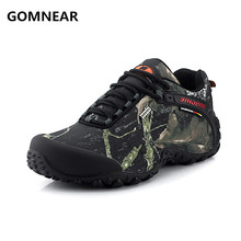 GOMNEAR waterproof canvas hiking shoes For Men Anti-skid Wear resistant breathable fishing camping climbing rubber sole shoes