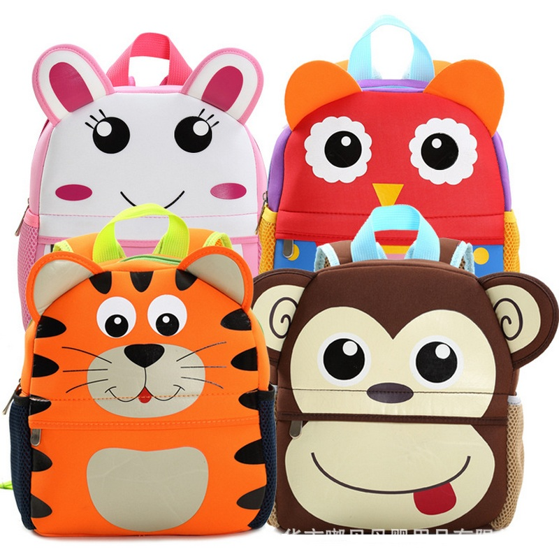 Cute 3D Cartoon Animal Backpack Kid Toddler Kindergarten Bag Schoolbag Neoprene