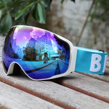 Uv- multi-color/double be nice snowboarding anti-fog wear goggles skiing snow glasses