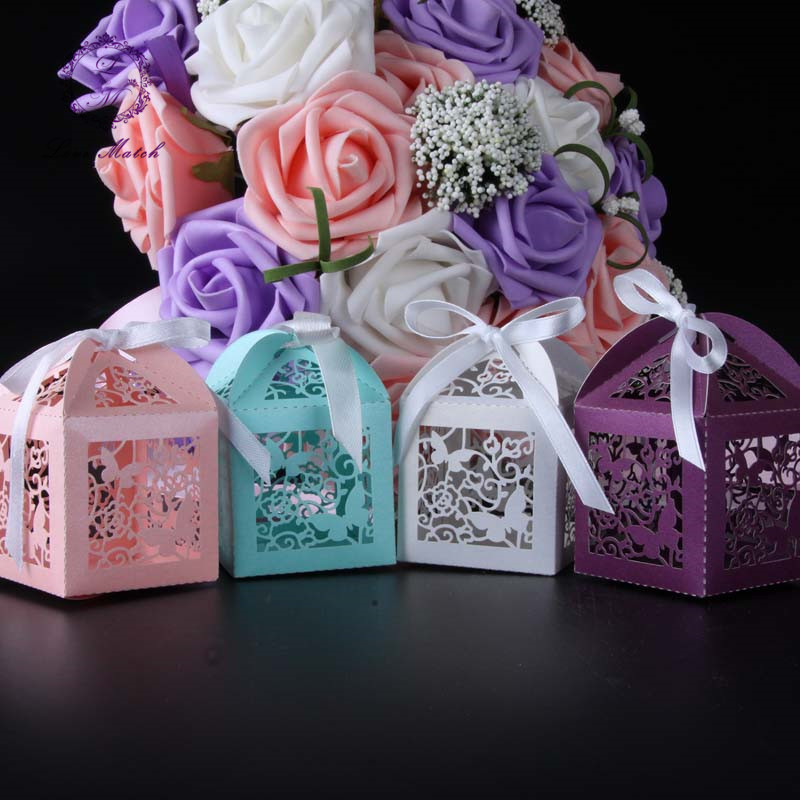 50pcs Butterfly Laser Cut Candy Box Wedding Favor Box Gift