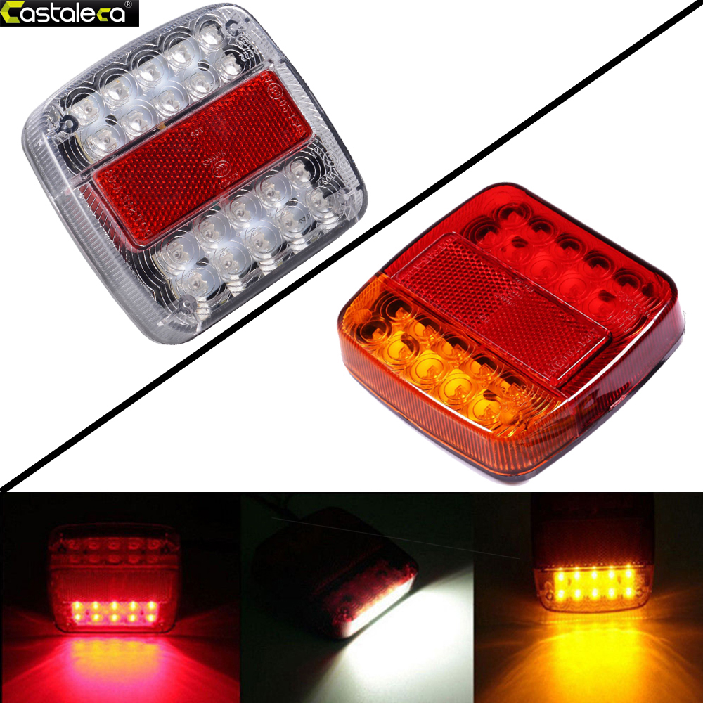 castaleca 1Pcs 12V 26LED Tail Light Brake Stop Lamp Taillight Rear Reverse Light Indicator for Truck Trailer Boat Caravan eonstime 2pcs 12v 16 led red white truck trailer boat stop turn tail light reverse light lamp waterproof
