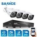 4CH, XPOE, 2MP, камера безопасности, комплект, 4 шт., 1080 P, пуля, ip-камера, уличная, водонепроницаемая, для видеонаблюдения, NVR, набор, IP66, SANNCE