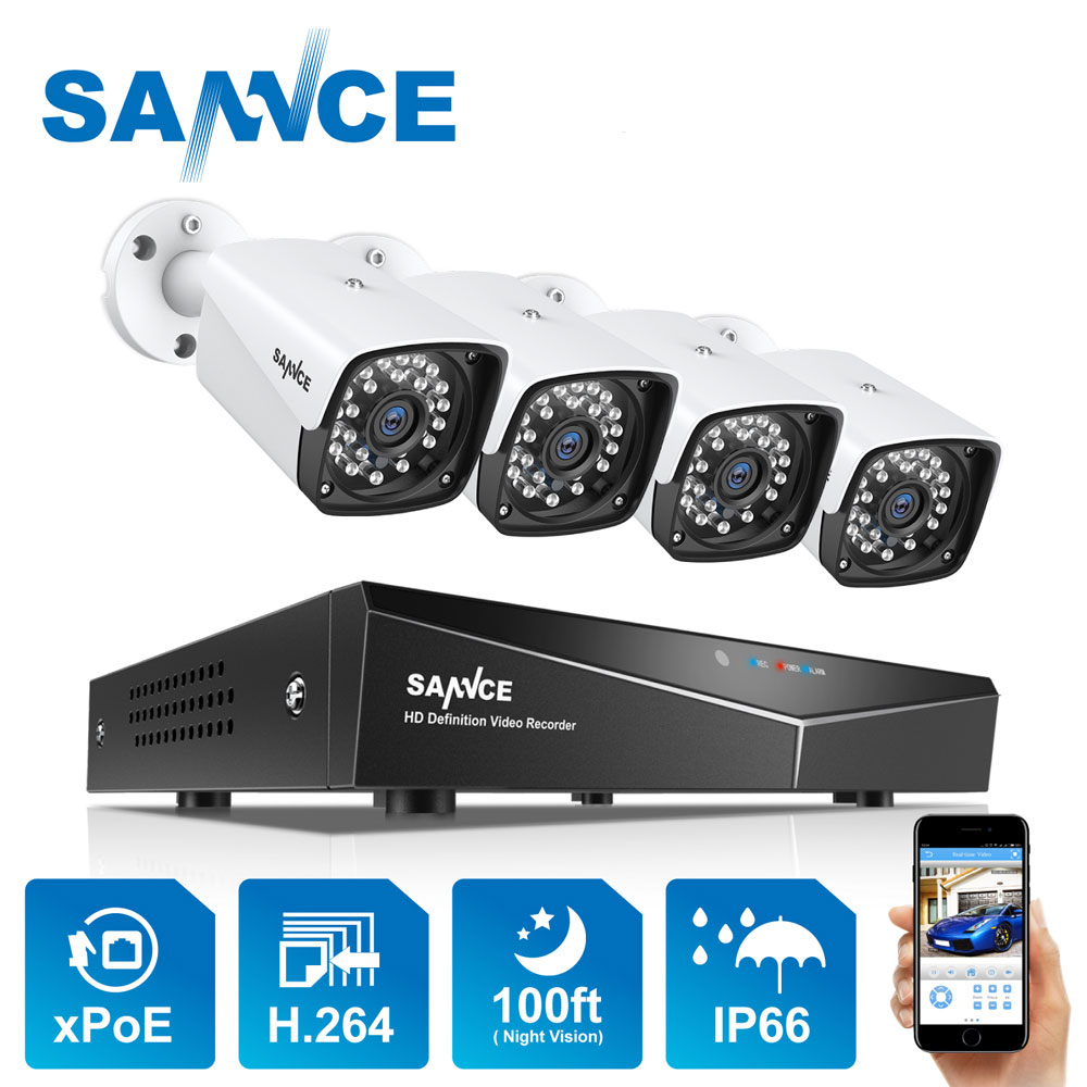 4CH XPOE 2MP 4PCS Segurança Kit Sistema De Câmera IP 1080P Bala Câmera de Vigilância de Vídeo Ao Ar Livre À Prova D' Água Conjunto NVR IP66 SANNCE