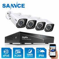 4CH XPOE 2MP Kit de système de caméra de sécurité 4 pièces 1080P balle IP caméra extérieure étanche Surveillance vidéo NVR ensemble IP66 SANNCE