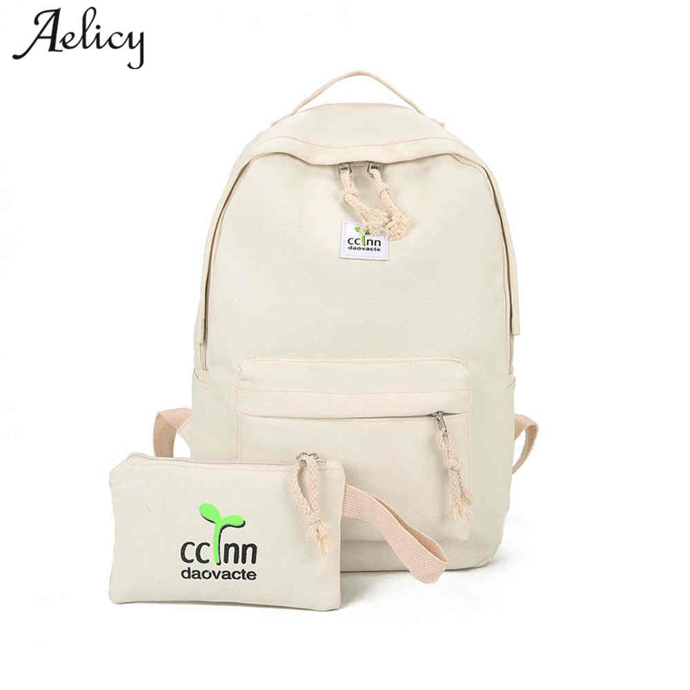 Aelicy Fashion Backpacks Shoulder Bag Women 2 sets Backpack Women Preppy Style Women Backpack School Bags for Teenage Female korea style fashion backpacks for men and women waterproof preppy style soft backpack unisex school bags big capacity bag xa893b