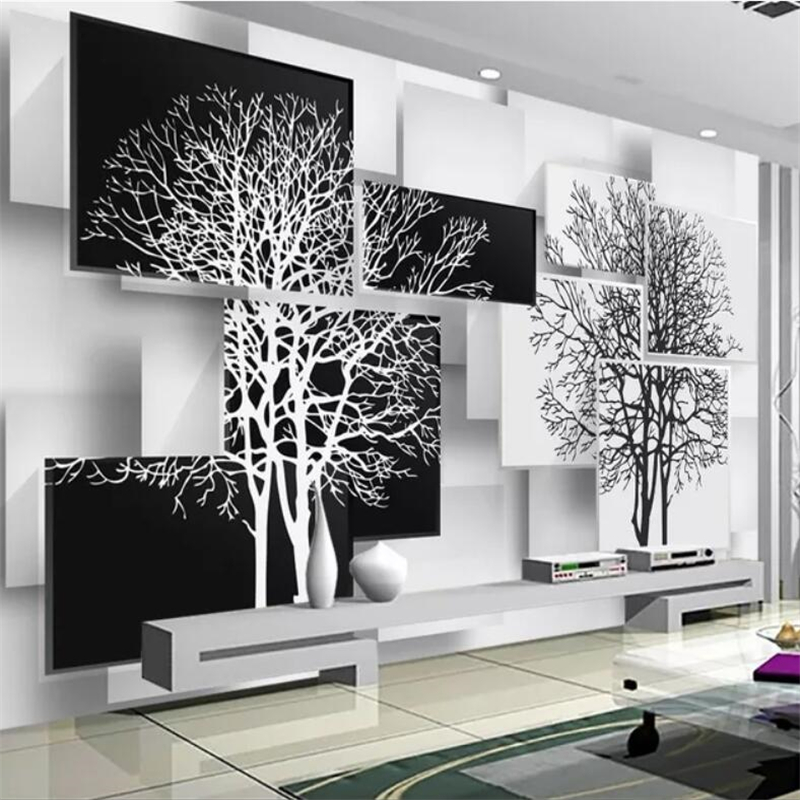 Beibehang Custom Wallpaper 3d Murals Simple Black And White Tree Decoration Painting Living Room Bedroom TV Background Wallpaper