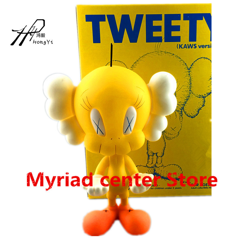 8inch Original Fake Kaws Tweety fashion Toy Yellow Black Medicom PVC Action Figure Collectible Model Toy RETAIL BOX zy5658inch Original Fake Kaws Tweety fashion Toy Yellow Black Medicom PVC Action Figure Collectible Model Toy RETAIL BOX zy565