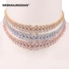 New Arrival WEIMANJINGDIAN Brand Floral Flower Cubic Zirconia Adjustable Shinning Zircon CZ Chokers Collar Necklaces for Women