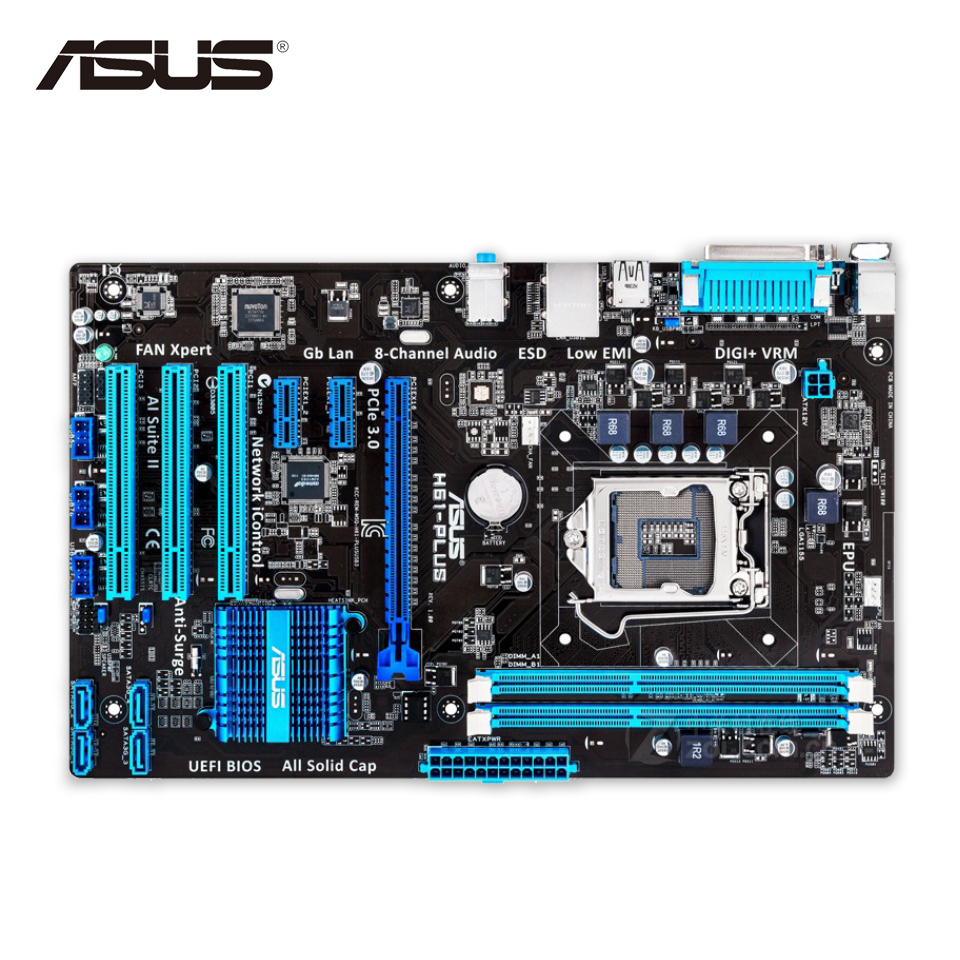 Asus H61-PLUS Desktop Motherboard H61 Socket LGA 1155 i3 i5 i7 DDR3 16G ATX On Sale asus p8h61 plus desktop motherboard h61 socket lga 1155 i3 i5 i7 ddr3 16g uatx uefi bios original used mainboard on sale