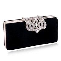 Crown Diamonds Women Evening Bags Small Clutch Purse Handbags Metal Golden Evening Bag With Chains Shoulder
