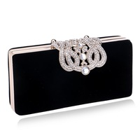 Crown Diamonds Women Evening Bags Small Clutch Purse Handbags Metal Golden Evening Bag With Chains Shoulder