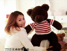 lovely flag stripe clothes teddy bear toy coffee teddy bear doll gift doll about 60cm