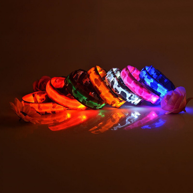 New Arrival dog collar pet Nylon Camouflage LED lamp collar perro 7 Colors dog leash Drop Shipping Hot Sale