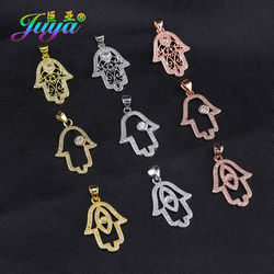 Juya DIY Turkish Jewelry Material Micro Pave Zircon Hamsa Hand Of Fatima Charms Pendant Supplies For Bracelet Necklace Making