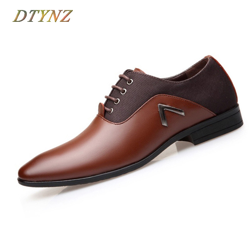 DTYNZ Leather Formal Shoes Creating Fashion Trend Breathable Men's Dress Shoes 2018 Autumn Business Lace-Up Oxfords Size 38-48