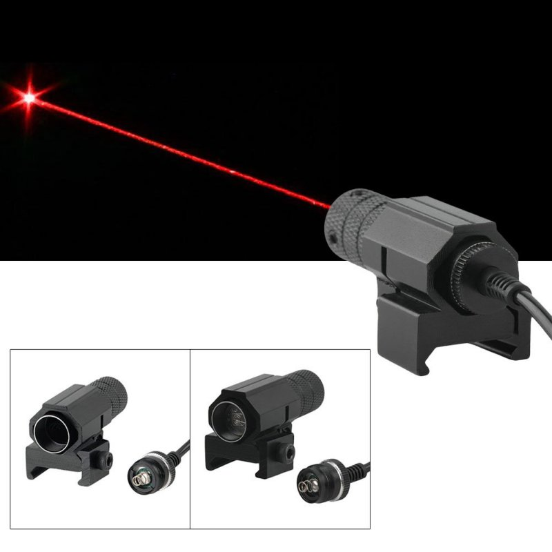 Tactical Red Dot Mini Red Laser Sight + Tail Switch Scope Pistol with Lengthen Rat Tail Hunting Optics