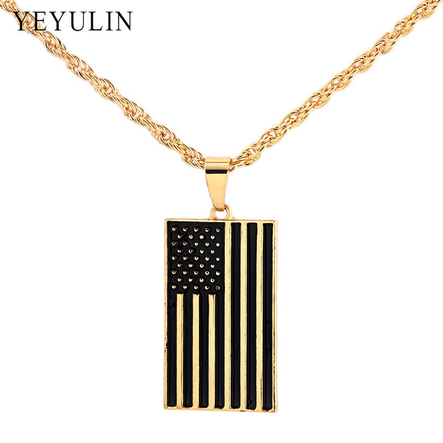 393b6c1c770f Creative Design Alloy Gold Color American Flag Pendant Necklace USA Patriot  Freedom Stars And Stripes Necklace Jewelry