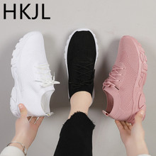 HKJL Sneaker women spring 2019 new flying weaving shoes flat bottom joker Korean edition running for students A581