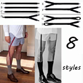 Mens Shirt Stays Garters Elastic Nylon Adjustable Shirt Holders Crease-Resistance Belt Stirrup Style Suspenders