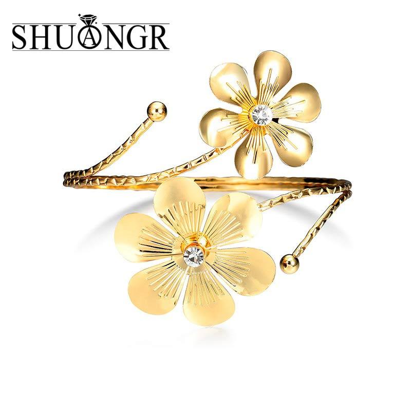 SHUANGR 2017 Fashion Bijoux Gold Punk Hip Hop Bangles Upper Arm Bracelet for Women Costume Statement Jewelry Fashion Accessories
