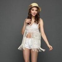 2017 Summer Women Tanks Tops Lace Floral Crochet Sleeveless Vest V Neck Tassel Hollow Out Transparent