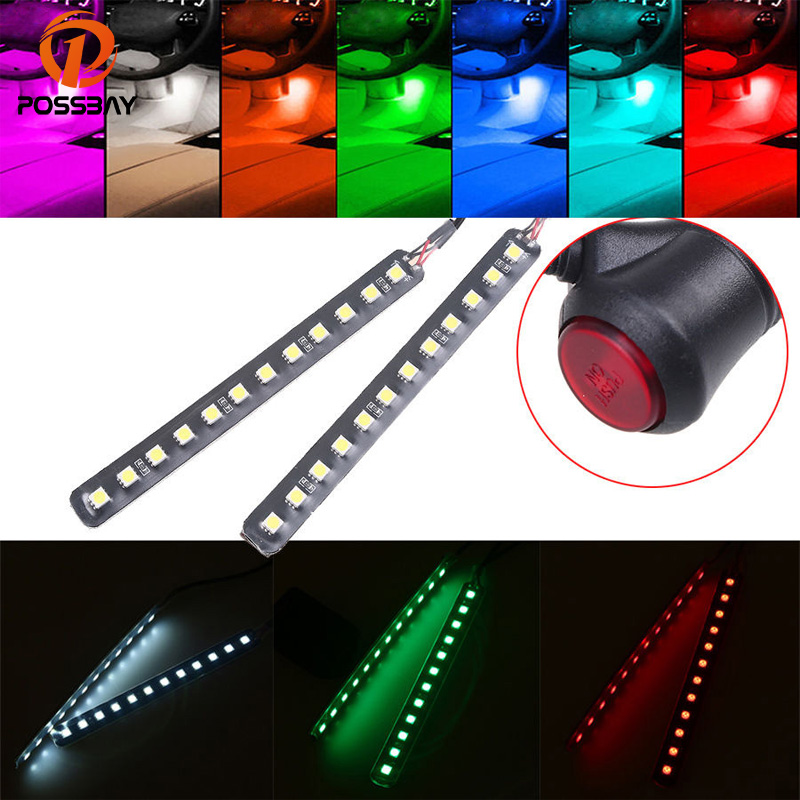 POSSBAY 12-LED Car Interior Footwell Floor Light Decorative Atmosphere Lamp Strips With Cigarette Lighter Car LED Neon Lamps