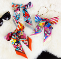 Geometric Printed Fashion Lady 100% Silk Twilly Scarves Bags Scarf Small Ribbon Hair Band Bandeaus ZSBD45