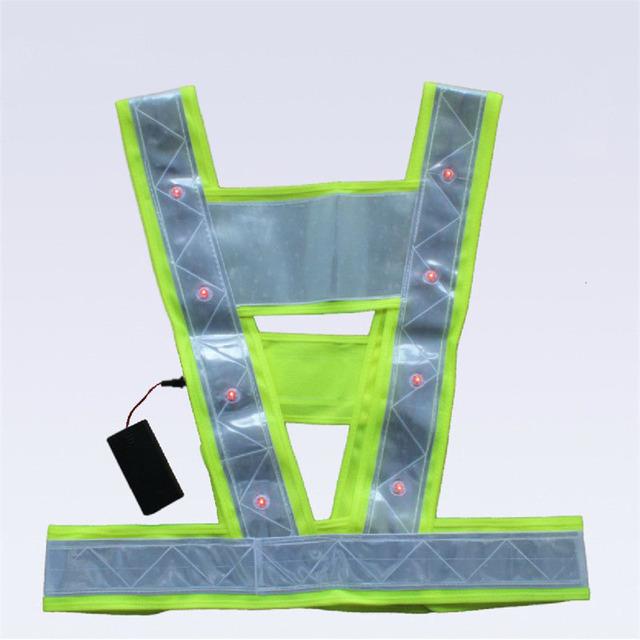 Colete De Segurança Colete reflector Vestuário Reflector Levou luzes de Trabalho Listras Aviso Colete Encabeça Neon Lime V Roupas Cinto de Segurança