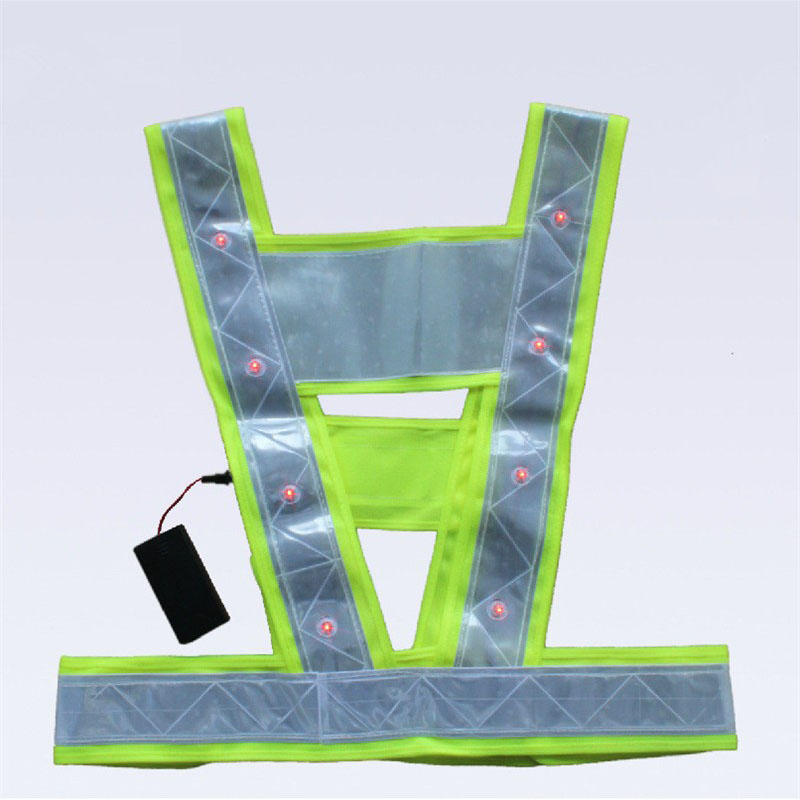 Reflective Vest Safety Vest Led lights Working Clothing Reflective Stripes Vest Warning Tops Neon Lime V Clothing Safety Belt