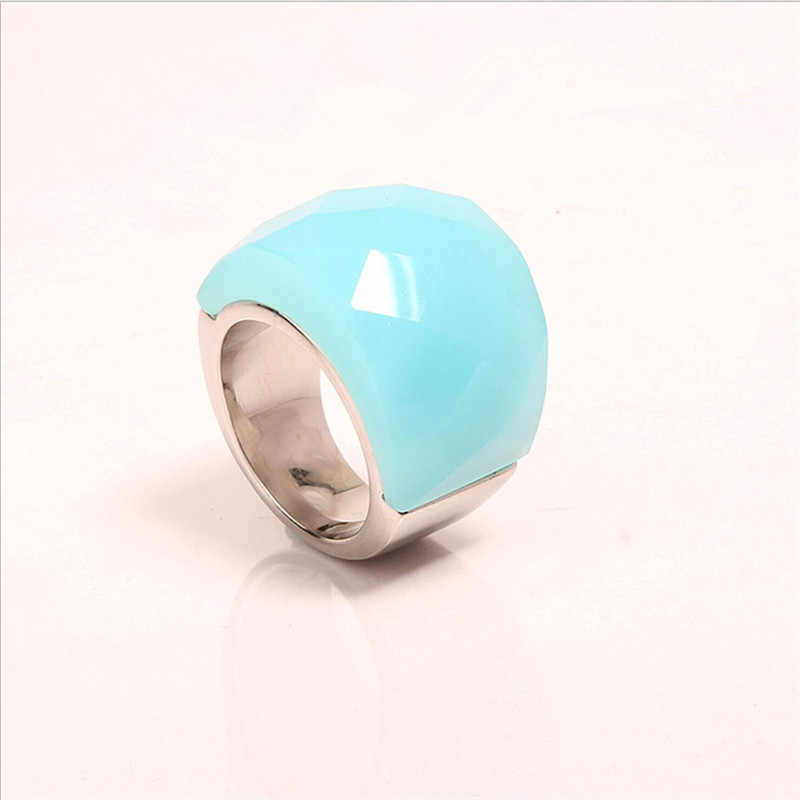 ใหญ่ Rainhstone แหวนสำหรับผู้ชายและผู้หญิงสแตนเลสแฟชั่นหินกึ่งมีค่าแหวนเครื่องประดับขายส่ง