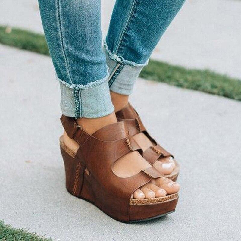Details about Women High Heels Sandals Wedges Platform Open Toe Beach Style Big Size