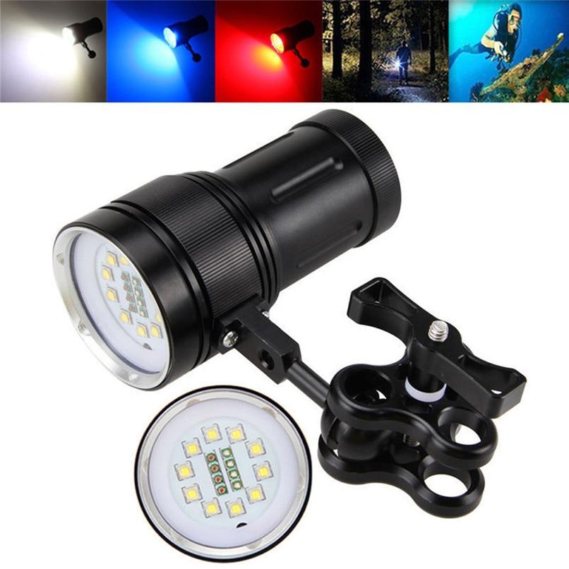 цены 10x XM-L2+4x R+4x B 12000LM LED Diving Flashlight Torch Waterproof Photography Video Light LED Bike Light Bycicle Light 40OT16