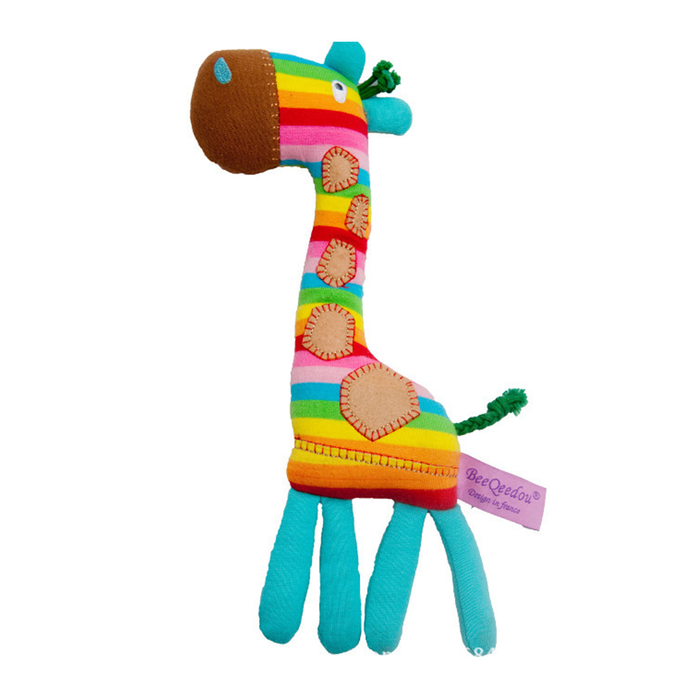 Tony Lvee Giraffe Shape Soft Cute Washable Infant Handbell Rainbow Color Funny Ring Bell Baby Rattle Early Educational Toy