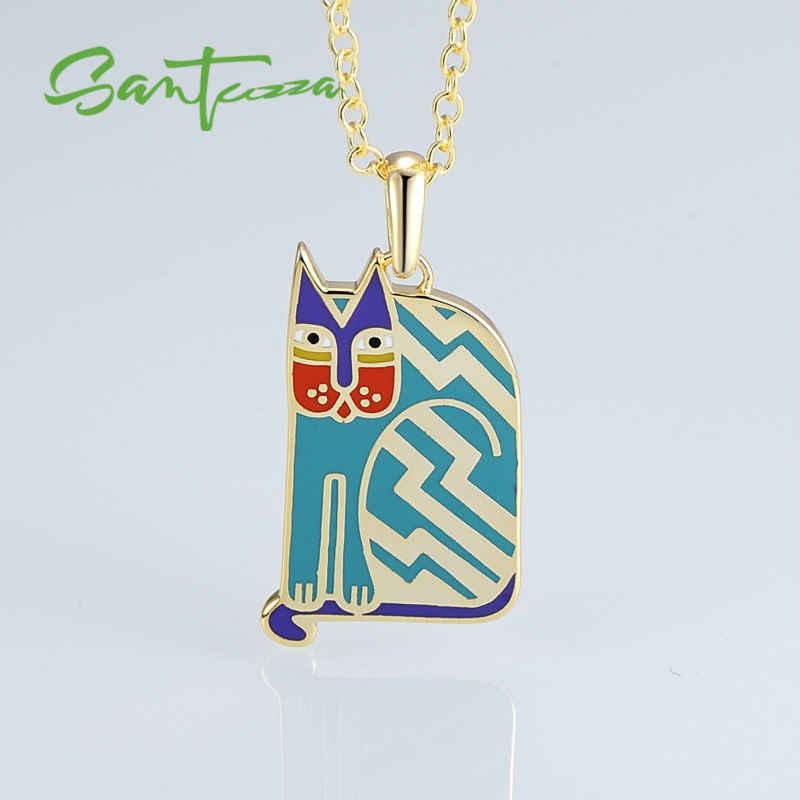 SANTUZZA ทองเหลืองสร้อยคอผู้หญิงน่ารักแมวสีฟ้าจี้สร้อยคอ HANDMADE เคลือบแฟชั่นเครื่องประดับ