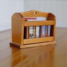 Кукольный домик миниатюрная мебель Мультифункциональный деревянный книжный шкаф самостоятельно деревянная газетная полка