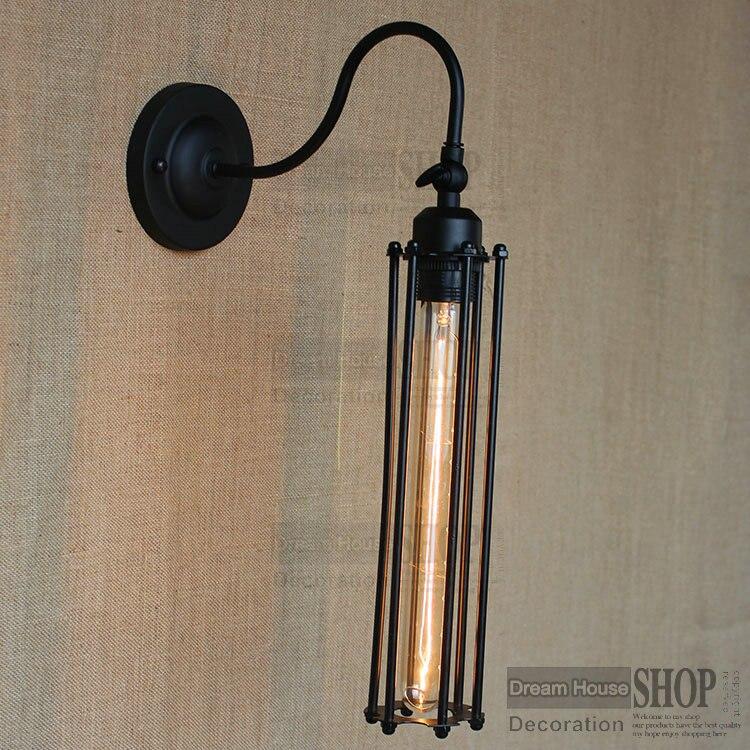 ФОТО Free shipping Nostalgic Vintage Iron Loft Aisle Wall Lamp For Balcony RH long cage Industrial Bulbs Retro Vintage lamp shade
