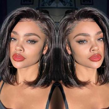 Brazilian Hair Lace Front Human Hair Wig Short Bob Wigs For Women Black Brazilian Straight Hair 130% Density Wigs 10-20 Inches
