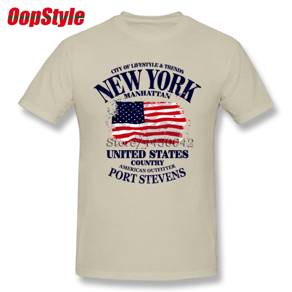 New York Manhattan USA Flag T-shirt For Men Plus Size Cotton Team Tee Shirt 4XL 5XL 6XL Camiseta